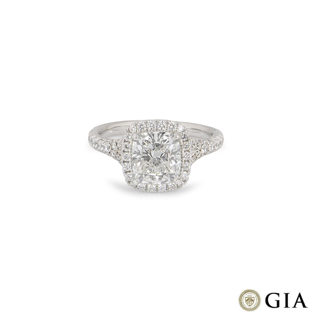 White Gold Cushion Cut Diamond Ring 2.14ct F/VS1